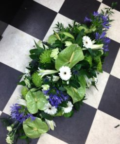 Double Ended Casket Spray Blue and White
