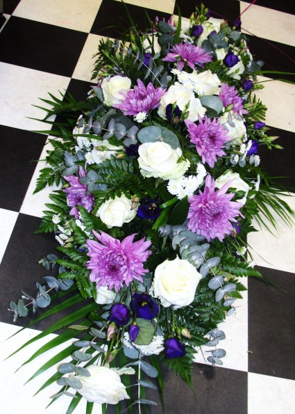 lilac & white double ended casket spray