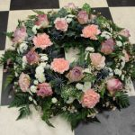 Rustic country cottage wreath in pastel colours