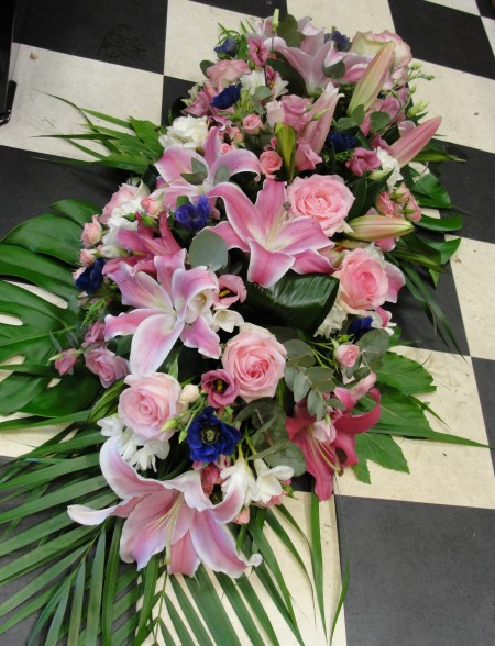 Pink rose & lily casket double ended spray