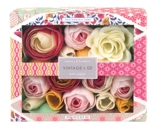 FG1822 VINTAGE & CO FABRICS & FLOWERS SOAP FLOWERS
